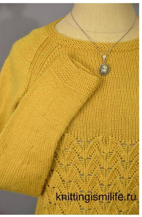 Пуловер желтый женский. Вязание спицами.. Обсуждение на LiveInternet - Российский Сервис Онлайн-Дневников