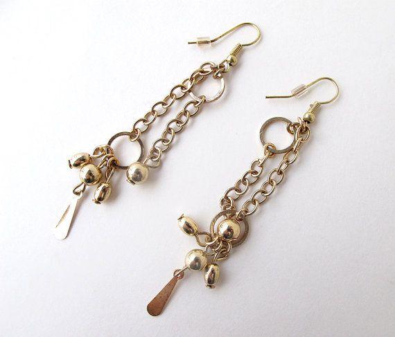 Gold earrings dangle earrings gold dangle by APlusJewelryCrafts