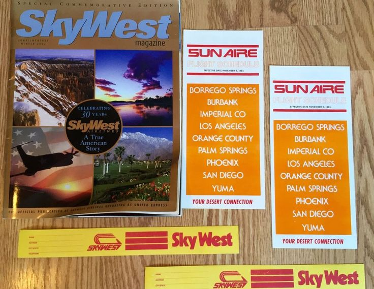 Skywest Airlines 30 Year Flight Magazine, Vintage Bag Tags & Sun Aire Timetables