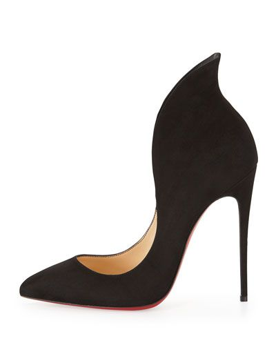 X2EDS Christian Louboutin Mea Culpa Flared Suede Red Sole Pump, Black