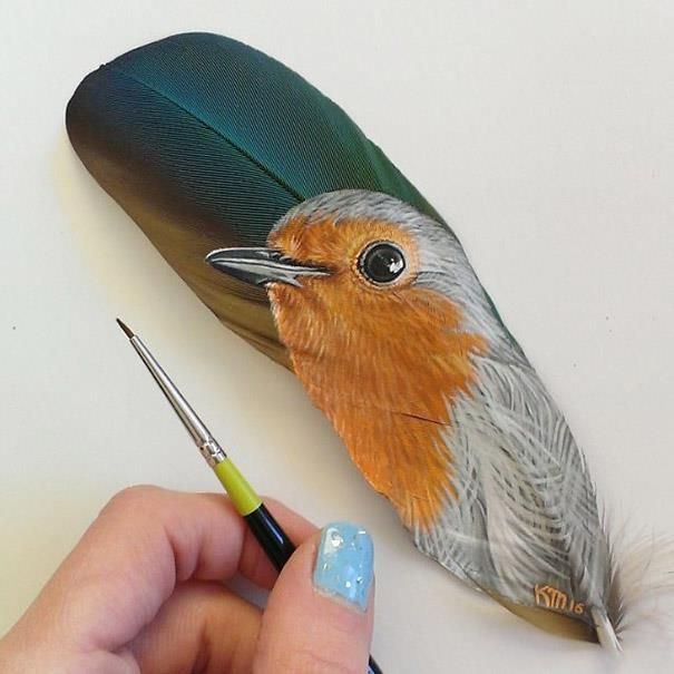 Miniature Pet Paintings On Feathers by Krystle
