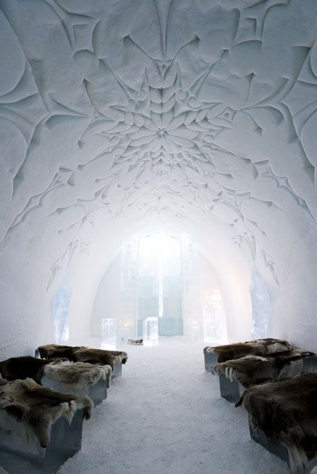 Ice Hotel: Situated in the village of Jukkasjärvi, 200 kilometers north of the Arctic Circle, in Sweeden