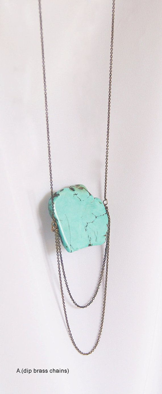 Raw Turquoise Statement Necklace Series by MoonwalkMW on Etsy, $24.00