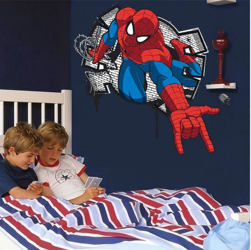 NEW 3D cartoon Spiderman, Wall Decals Vinyl Removable - PVC Wall stickers Mural #Unbranded