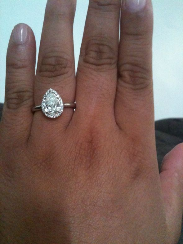 Engagement Ring On Black Finger
