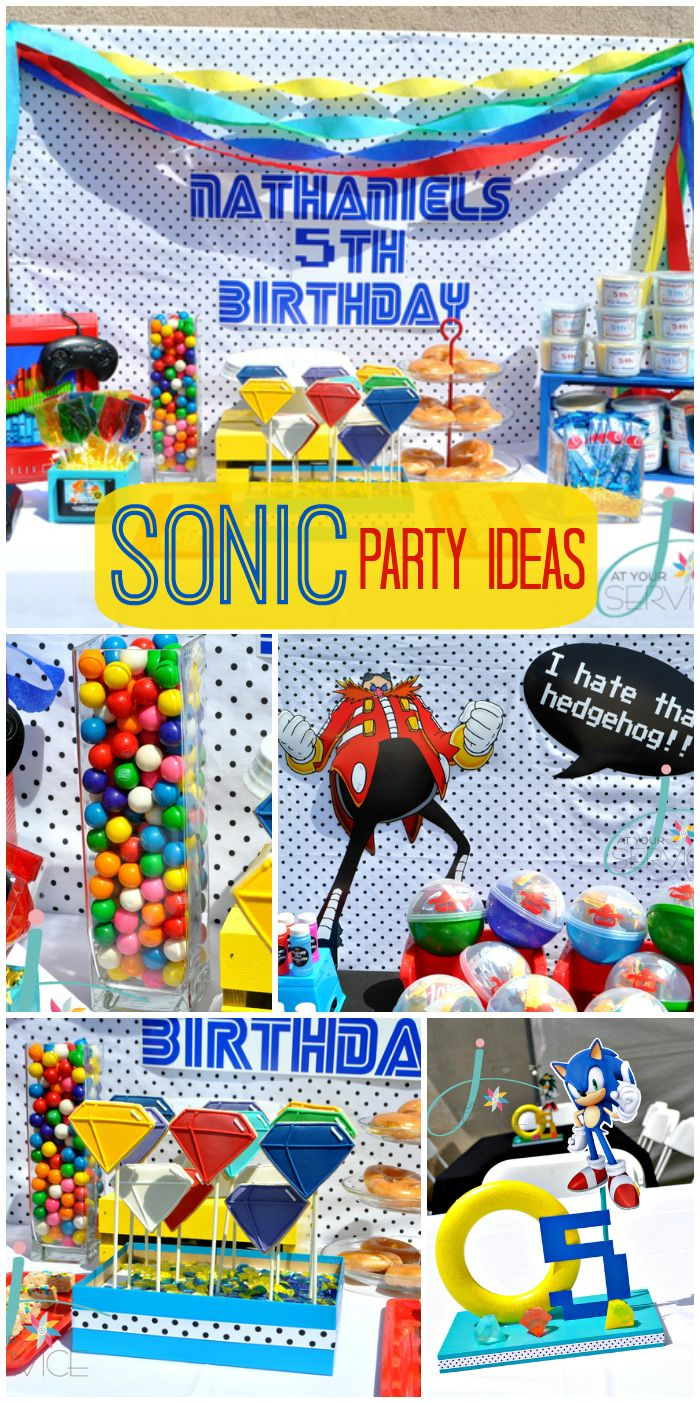 This fun boy birthday party is centered around Sonic the Hedgehog!  See more party ideas at CatchMyParty.com!