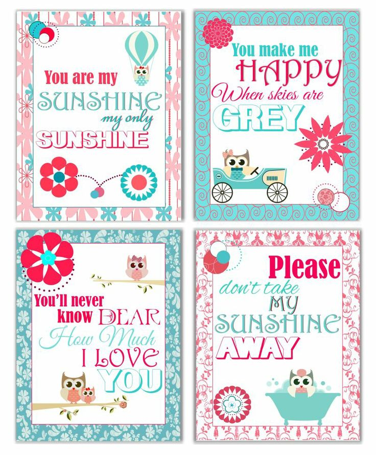 You Are My Sunshine Prints with Owls