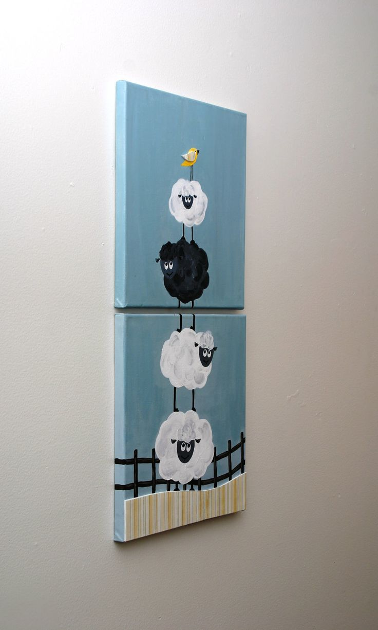 Acrylic Painting - Black Sheep - two 12x12 canvas art set for children. $75.00, via Etsy.