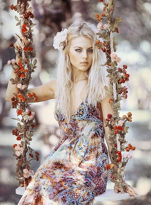 ❀ Flower Maiden Fantasy ❀ beautiful photography of women and flowers - flower swing