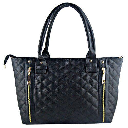 THG Stepptasche Damen Mädchen Handtasche Umhängetasche Schultasche Alltagstasche Schwarz (schnelle Lieferung vom Deutaschenland)