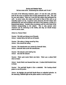 This is an Active and Passive Voice Activity worksheet. This is a mini-lesson designed for quick, focused instruction about eliminating passive vo...
