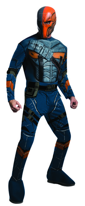 Deathstroke Batman Arkham City Costume - Fight Batman in the ultimate battle with this officially licensed Deathstroke costume from Batman Arkham Origins. This sublimated jumpsuit has poly-foam chest with mask and belt. Take on Batman this Halloween with this super villain Deathstroke costume. Great for Halloween, comic con or expo, themed parties and having fun. #YYC #Calgary #costume #Deathstroke #Batman #ArkhamOrigins