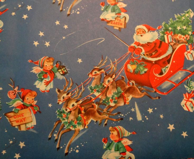 Vintage Christmas Wrapping Paper Santa and His Sleigh | eBay