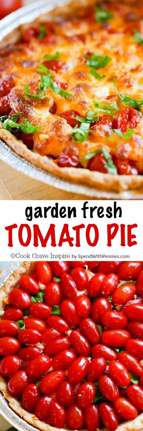 Tomato Pie! If your garden is overloaded with tomatoes this tomato pie recipe is the perfect way to enjoy them! Layers of cheese, juicy ripe tomatoes and fresh garden herbs come together ina flaky crust to create a savory pie everyone will love!