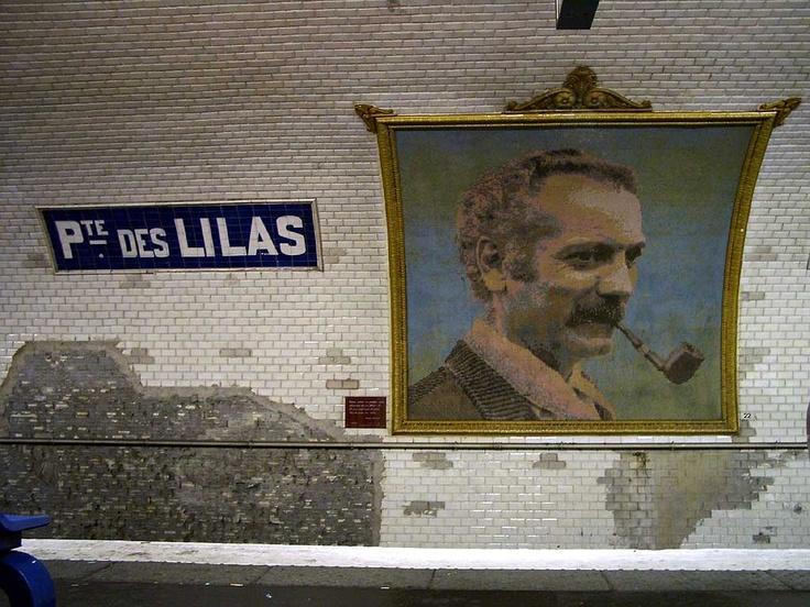 Mosaic portrait of Georges Brassens  Porte des Lilas métro station