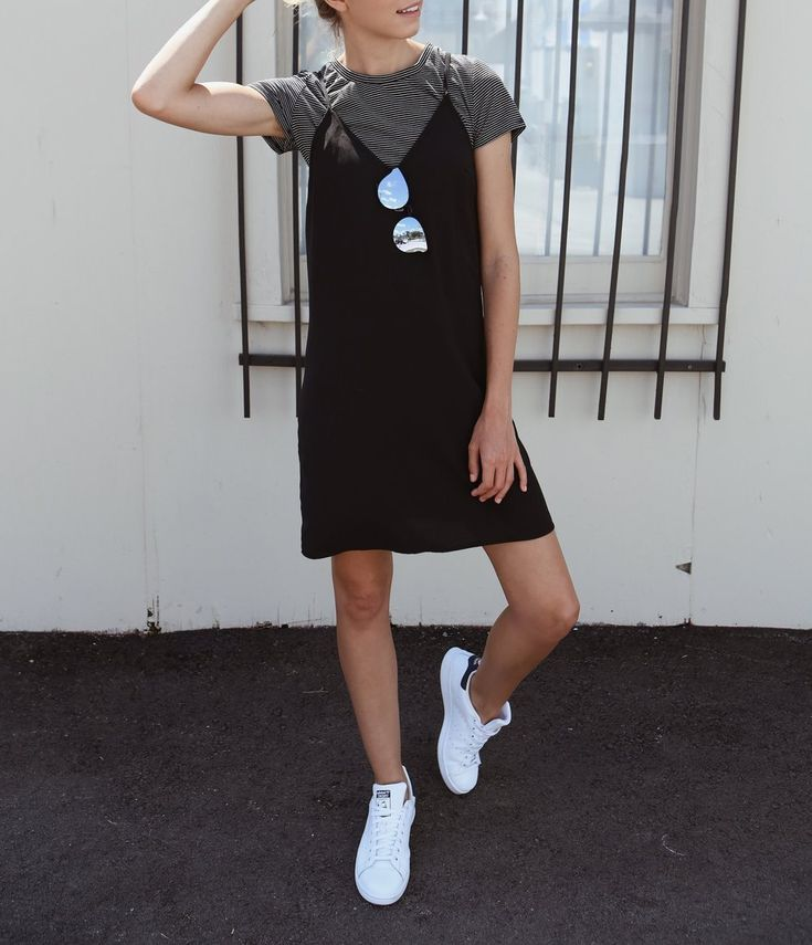 TREND ALERT: Tee shirt under a slip dress! It's back to 90's basics with this repeat. Get the whole look at heytheresam.com!