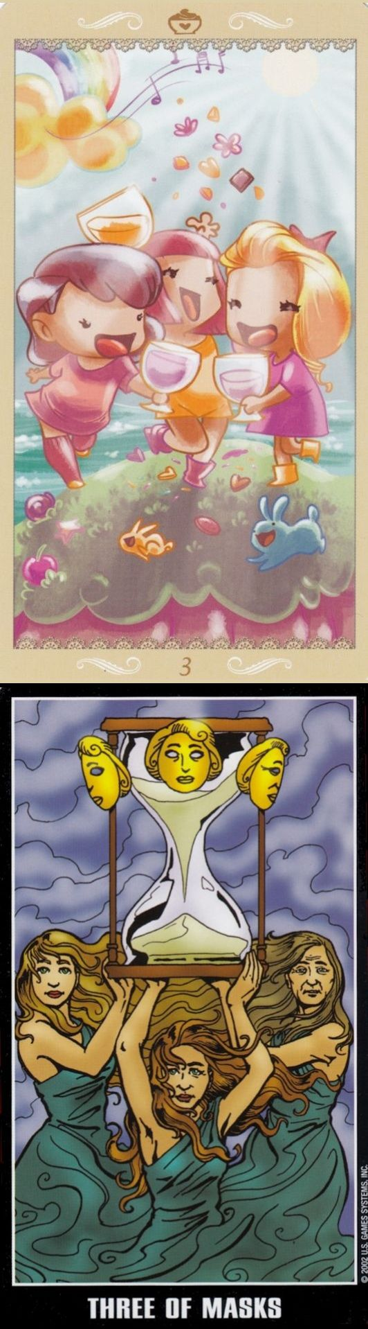 Three of Cups: friendship and herd mentality (reverse). Happy Tarot deck and Adventure Tarot deck: one card tarot, horoscope tarot cards and free psychic tarot card reading. The best tarot spreads and cartomancy meanings.