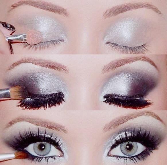 Weddbook ♥ Pretty, Silber Smokey Eye Makeup Photo Tutorial. Eye Make-up für blaue Augen.  Smokey
