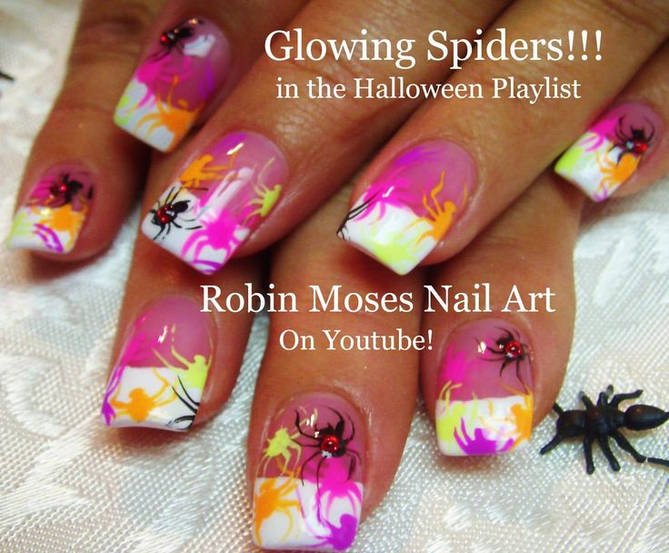 166 best halloween nail art pictures with tutorials images on easy halloween nail design neon spiders prinsesfo Images