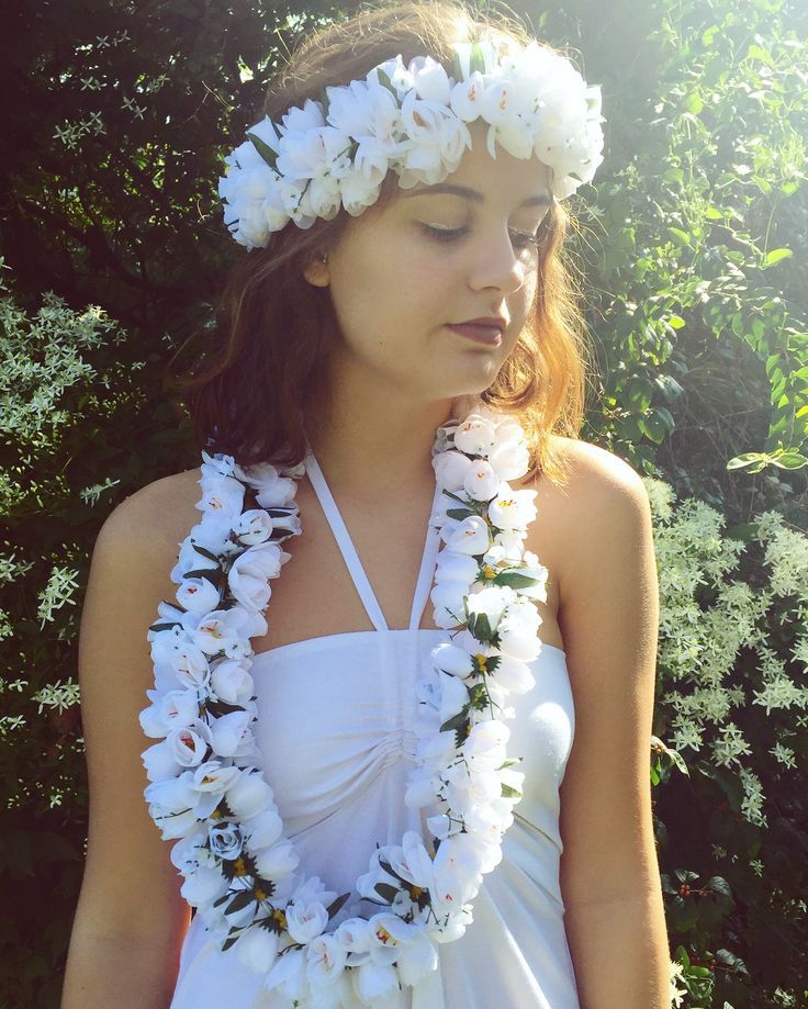 Angelic Hula Girl Costume! luau, hula girl, Halloween Luau, floral headband, DIY, Hawaiian clothing, flower crown, lei, luau party supplies, beach wear, cruise wear, tropical, pretty