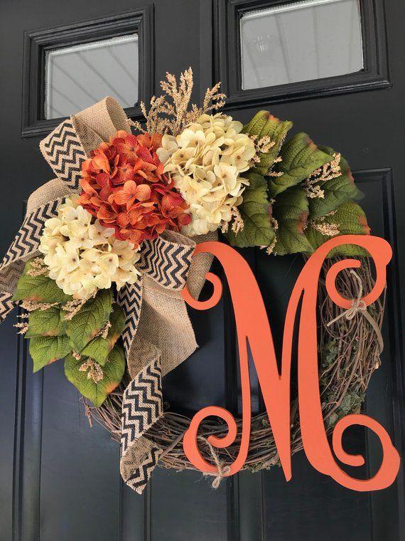BEST SELLER -Wreaths -Fall Wreath -Seasonal Wreath -Wreath -Hydrangea Chevron Monogrammed Wreath -Fall Decor -Housewarming Gift -Gifts