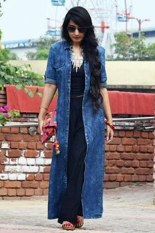 70acceb6168 Long denim shrugs best to complement ir casual as well as ur travel outfit  jpg 313x470
