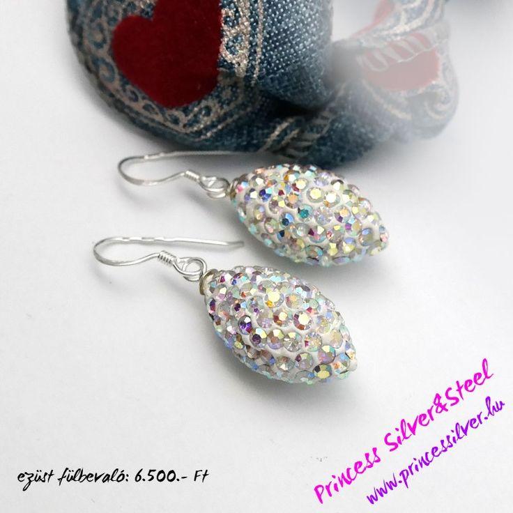 Színjátszó Swarovski kristályos függő ezüst fülbevaló