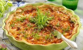 Lantlig quiche | Matig och enkel paj med kyckling, bacon och mozzarellaost. Uppskattas av både stora och små gäster.