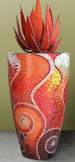Tutorial on making mosaic planter from GLASS PAINTING MADE EASY.: Mosaic Clay Pots