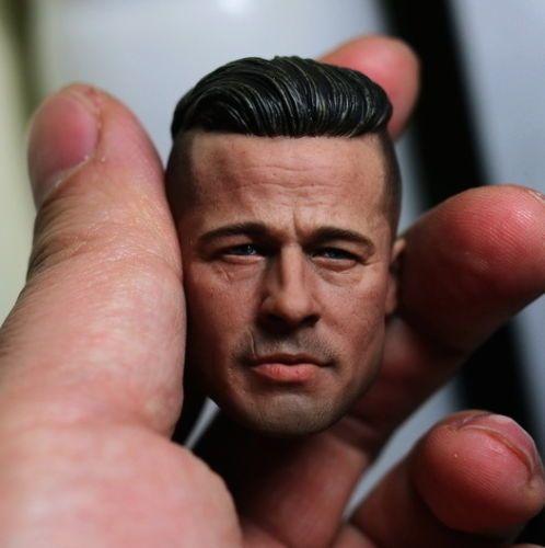 1/6 Scale Custom ThreeQ Brad Pitt Furry Head Sculpt For Hot Toys Muscular Body #Unbranded