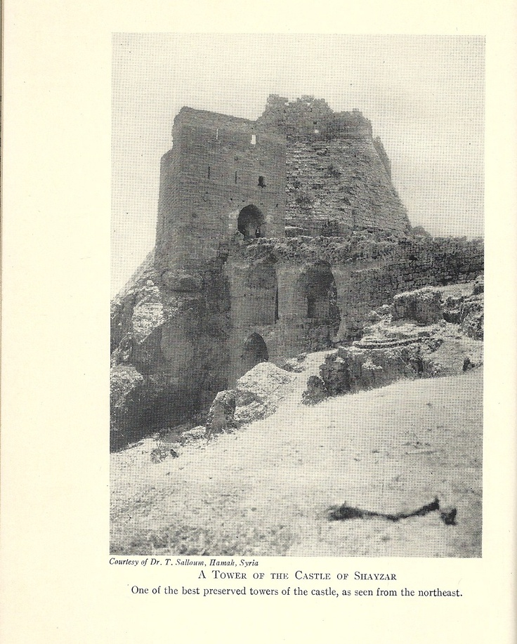 The real fortress of Shaizar in Syria -- ruined by earthquake in the 12th century.  The characters passed through here when there were walls & guards.