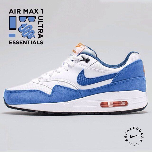 #nike #airmax1 #AM1 #essentials #sneakerbaas #baasbovenbaas  Nike Air Max 1 Ultra essentials - .This AM1 got a blue 'snakeskin' on the Swoosh and fine, orange details on the tongue, air unit and heeltab!  Now online available ! |Priced at 99,99 | Gs sizes 35.5 - 40 EU