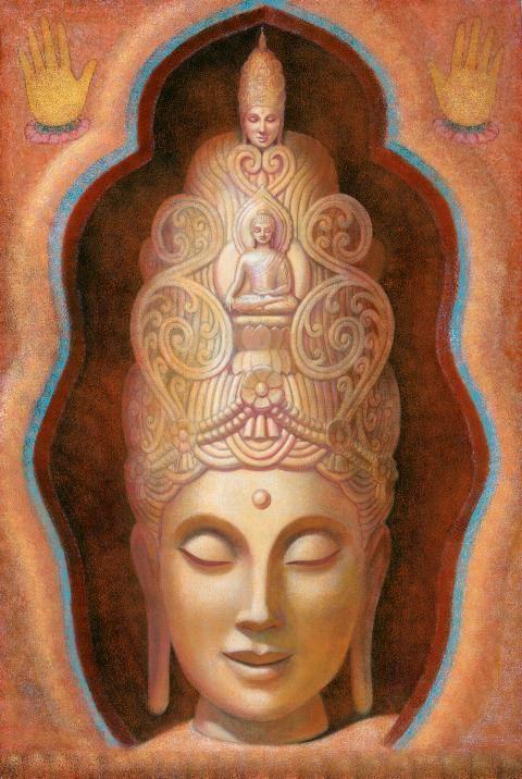 Goddess Tara meditation art Kuan Yin female Buddha poster Tibetan Buddhism spiritual print of painting. $24.95, via Etsy.