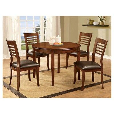 5 Piece Simple Round Dining Table Set Wood/Medium Oak - Furniture of America
