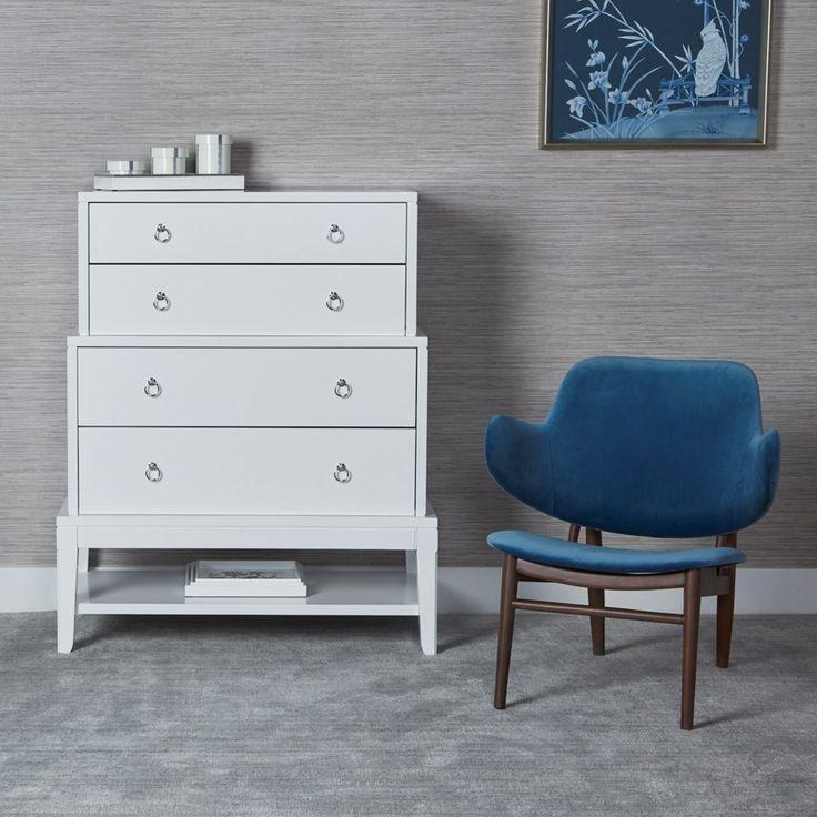 Pandora Tall 4 Drawer White Bungalow 5 Dresser As