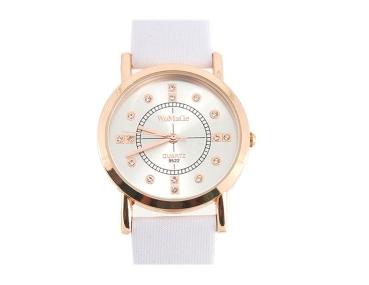 White Fashionable Crystal Decoration Quartz Wrist Watch Water Resistant Watches