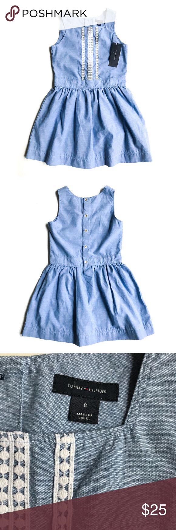 "Tommy Hilfiger Crochet Border Blue Haze Dress Sz 8 Tommy Hilfiger Crochet Border Blue Haze Dress Sz 8  New with Tags Sleeveless Girls Dress  Button Back Square Neckline Gathered Skirt Dress Length 28.5"" Tommy Hilfiger Dresses"