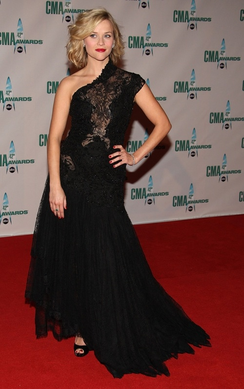 Where can I find Resse Witherspoon's black lace long one shoulder dress and black shoes?