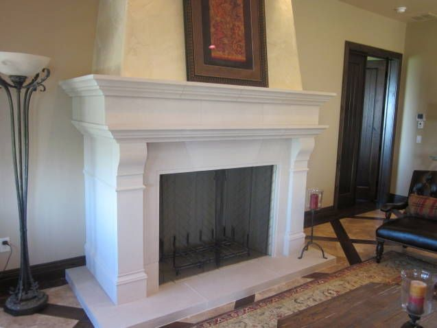 Cast Stone Fireplace With Wrap Around Mantel On Pop Out