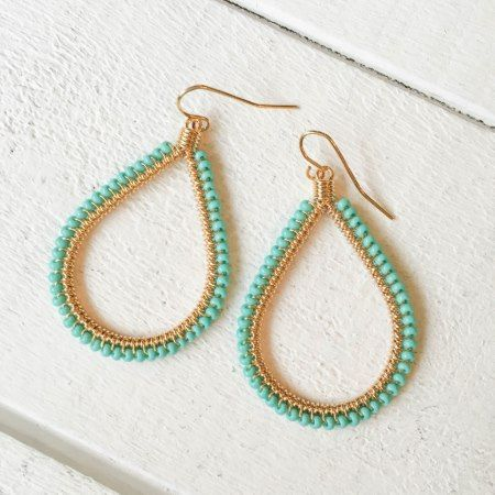 Gold w/Beaded Turquoise Teardrop Earrings - tap to personalize and get yours