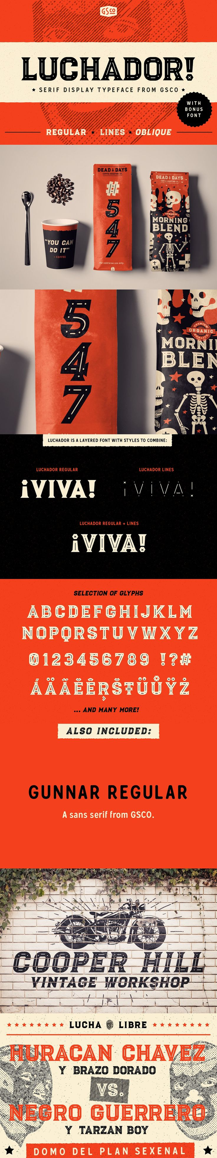 Affiliate | Luchador is a serif display typeface in two styles with layered ornaments that will pack your next creative project full with weight, character and charisma like a mexican wrestler.In this pack you'll findLuchador RegularandLuchador Obliqueas well as an ornamental bonus -Luchador Lines. All styles have over 300+ glyphs and supports a great amount of international languages.
