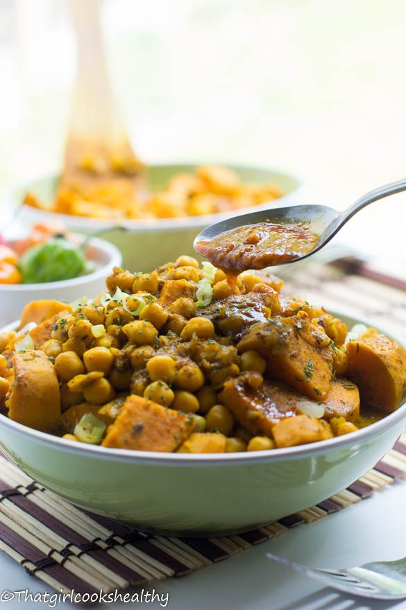 A copy cat version of a Trinidadian recipe called Channa and aloo which means Chickpeas and potatoes using sweet potatoes instead of white.