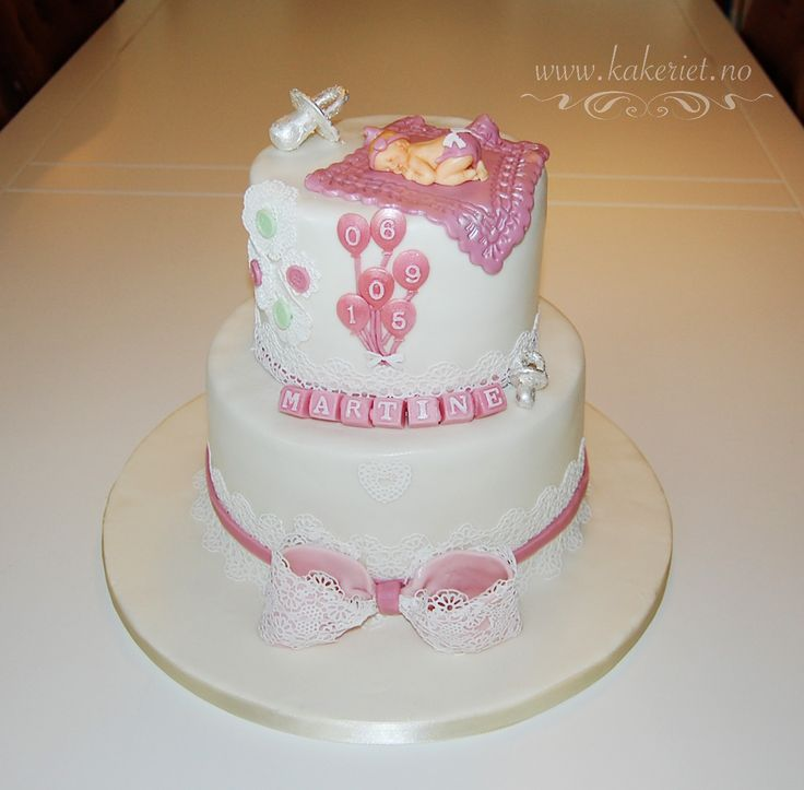 Pink and lace christening cake with balloons and bow <3