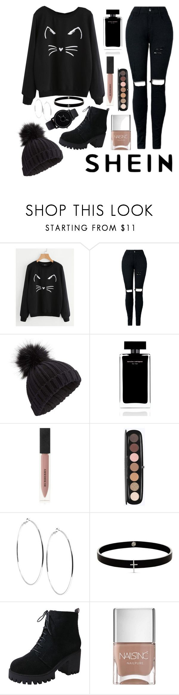 """Shein Black Cat"" by indigoizzy247 ❤ liked on Polyvore featuring Miss Selfridge, Narciso Rodriguez, Burberry, Marc Jacobs, GUESS, Lynn Ban and Nails Inc."