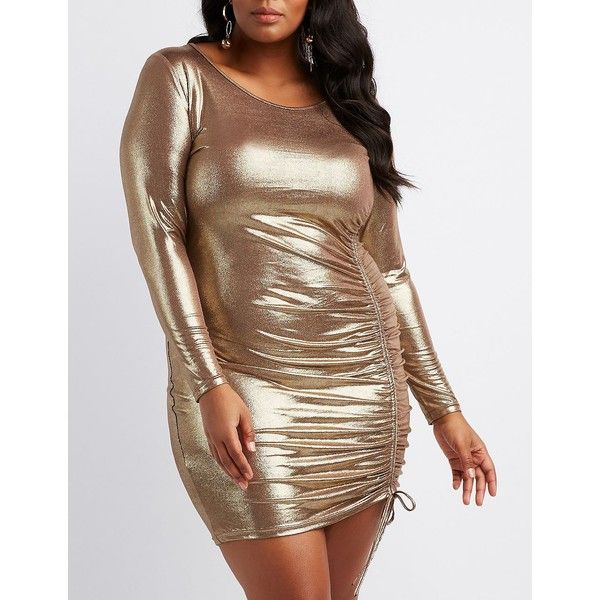 Charlotte Russe Ruched-Side Bodycon Dress ($20) ❤ liked on Polyvore featuring plus size women's fashion, plus size clothing, plus size dresses, bronze, plus size mini dresses, long-sleeve mini dress, plus size bodycon dresses, ruched bodycon dress and long sleeve mini dress