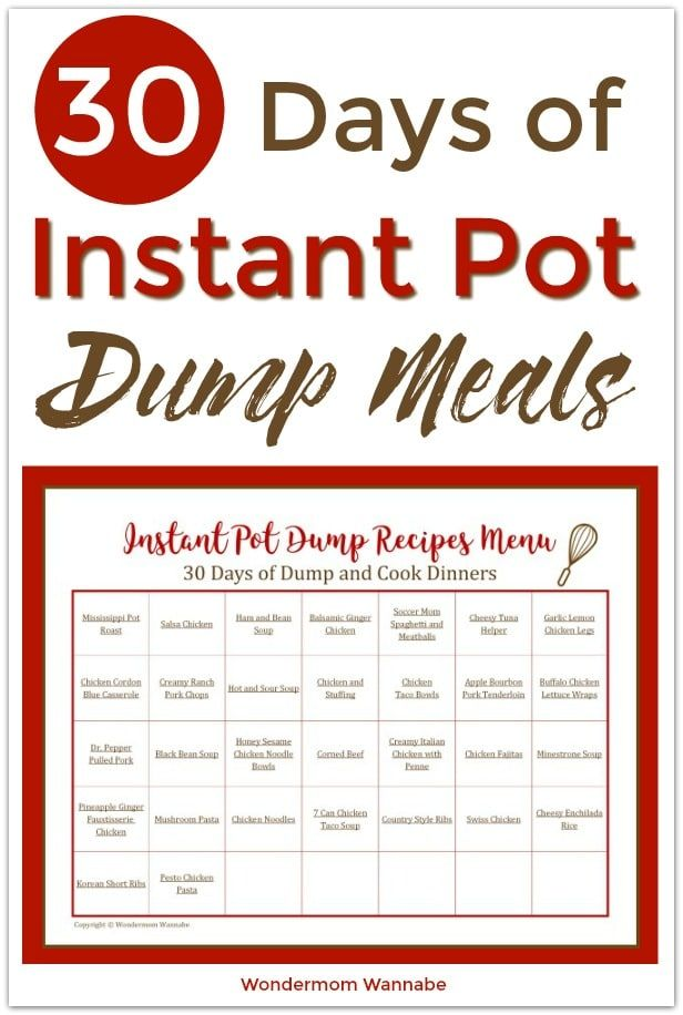 This menu contains a full month of Instant Pot dump recipes so you can spend les…
