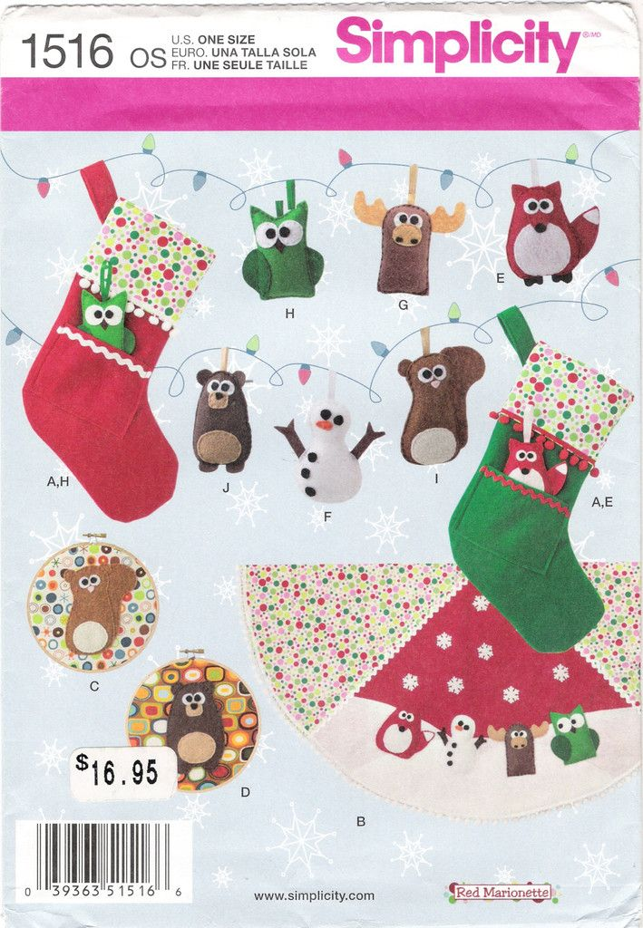 169 best christmas craft and sewing patterns images on for Simplicity craft pattern 4993