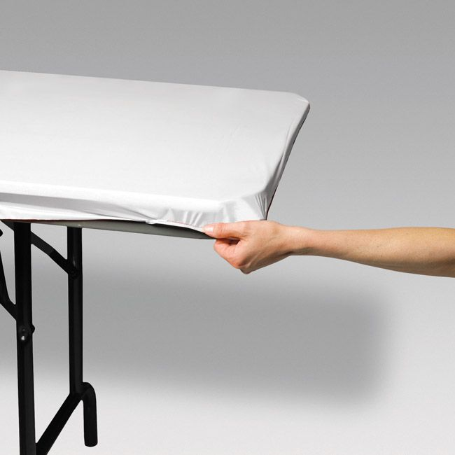 White 8 Banquet Stay Put Elastic Fitted Plastic Tablecloth