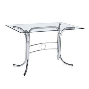 Mesa para Cozinha Retangular com Tampo de Vidro 4167 Cromado/Vidro Incolor - Unimóvel