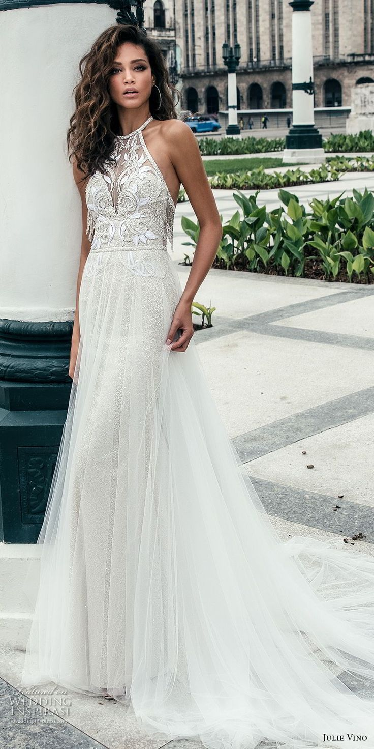 julie vino fall 2018 havana sleeveless jewel halter neck heavily embellised bodice elegant romantic soft a  line wedding dress open back chapel train (3) mv -- Julie Vino Fall 2018 Wedding Dresses